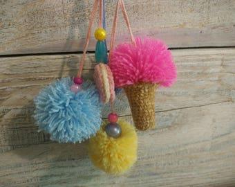 Pom pom keychain Pom pom bag charm Tassel keychain Purse Charm Boho keychain Handbag charm Tassel clip Pom Pom keychain pink ice cream Mint