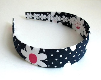 Preppy Girls Fabric Headband, Navy Blue Polka Dot Daisy Wide Fabric Covered Plastic Headband