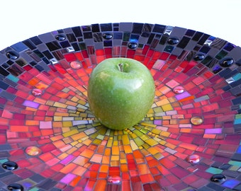 Mosaic Art -Mosaic Dish, Platter, Bowl, Large, Table Decoration in Black, Red and Yellow
