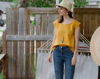 Madeleine Top - marigold cotton SIZE small, med
