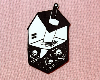 House and Knife Pin, black and white, laser cut acrylic