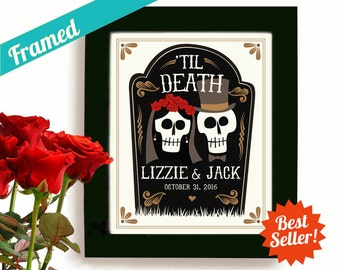 Unique Engagement Gifts and Wedding Gift Personalized Day of the Dead Halloween Wedding for Couples Dia de los Muertos Goth Couple