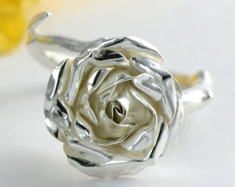 Silver Rose Ring - Sterling Silver Flower Ring - Medium Size - Floral Jewellery Gift for Her