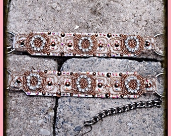 Rose Gold White Motorcycle Boot Chain Straps  Swarovski Crystal Embellished  1 PR