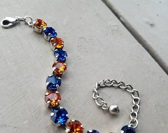 Blue and Orange Swarovski Bracelet