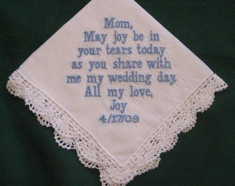 Personalized Wedding Gift - Wedding Handkerchief for Mother of the Bride, Bridal Gift, Mum of Bride 43B - Something Blue