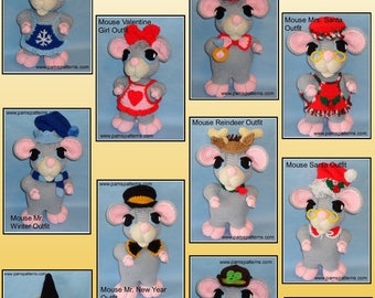 Crochet Mouse Doll OUTFITS Set 2, crochet doll outfits, crochet patterns, crochet outfits