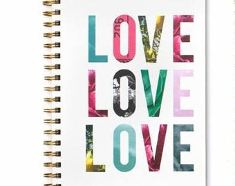 American Crafts Lined Spiral Journal - Love