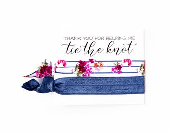 Navy Blue Hair Tie Bridesmaid Gift | Navy Blue Floral Hair Tie Favor, Nautical Bridal Shower Favor, Wedding Shower Favor, Bridesmaid Gift