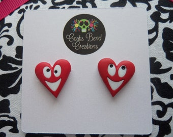 Happy Red Heart Stud Earrings~Valentine's Day Gift~Stocking Stuffers~Party Favors~Womens Earrings~Girls Earrings