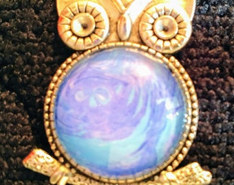Hand Painted Necklace - Owl Blue