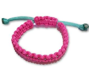 Hot Pink and Aqua Blue Adjustable Macrame Friendship Bracelet