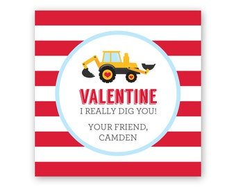 Boy Valentine Card - Valentines for Kids - Personalized Printable Valentine's Day Gift Tag Labels