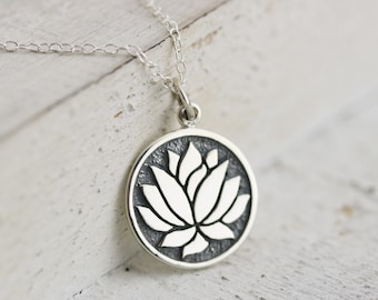 Lotus Necklace - Sterling Silver Etched Lotus Flower Necklace - Elegant Lotus Flower Pendant - Yoga Jewelry - Lotus Jewelry  Flower Necklace