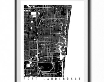 FORT LAUDERDALE Map Art Print / Florida Poster / Fort Lauderdale Wall Art Decor / Choose Size and Color