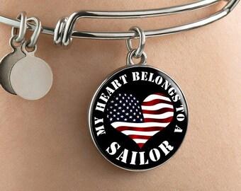My Heart Belongs To A Sailor - Bangle Bracelet - Deployment Gift