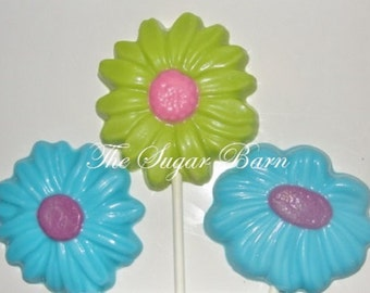 DAISY POSY Chocolate Lollipops*12 Count*Chocolate Flowers*Party Favors*Garden Party*Tea Party*Birthday Party*Chocolate Flower Bouquet