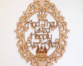 And They Lived Happily Ever After' Fairytale Framed Quote, Disney Wedding, Wedding decor,Princess decor, Room decor,Baby girl,Cake table