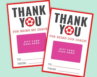 Soccer Coach Gift Card Holder - Printable Thank You Gift Card Holder - Instant Download - Printable 4x6 PDF - Red Team
