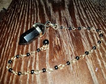 Black Obsidian Beaded Pendulum