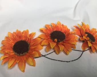 Orange Sunflower Crown with Chains