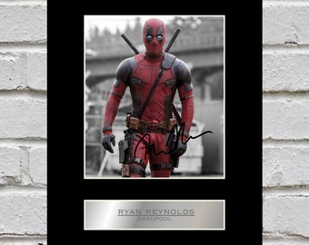 Ryan Reynolds 10x8 Mounted Signed Photo Print Deadpool