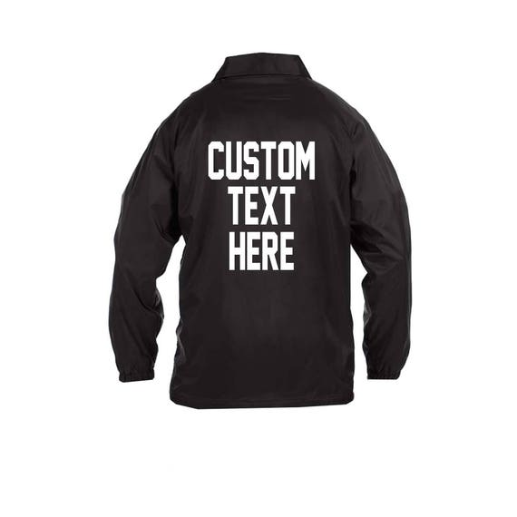 UNISEX CUSTOM Oversized Coach Windbreaker Jacket- Many Colors Long Sleeve Button Up Nylon Jacket- Personalize Your Own Sports Jacket fx5wsm0vdp