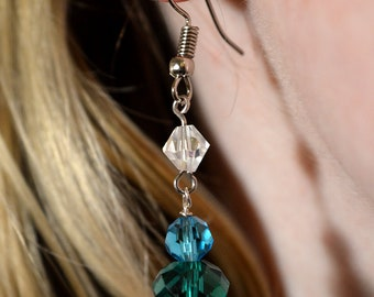 Blue and White Crystal Drop Earrings