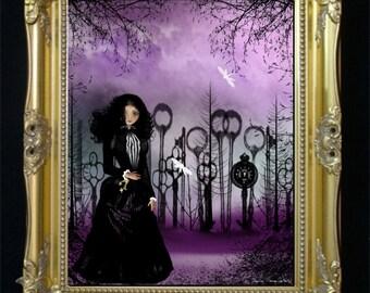 Steampunk Goth Girl Original Digital Painting -- Art Print --- Forest of Keys -- Surreal - Goth Girl - Keys