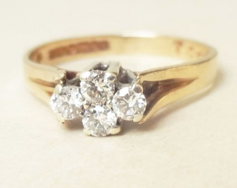 15% OFF SALE Vintage Diamond Flower Ring, 9k Gold Four Diamond Cluster Engagement Ring Approximate Size US 5/5.25