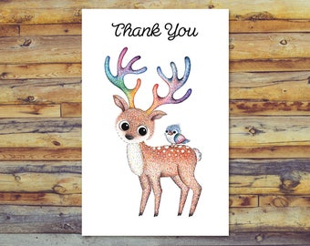 Printable Thank You Card, Cute Deer and Bird Thank You Card, Digital Download, Printable Blank Card, Instant Download, Digital Greeting Card