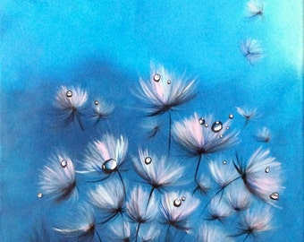 Dewy Dandelions- Original flower painting, acrylic on canvas wall decor