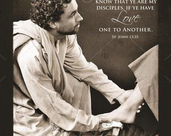 Religious Art, Christian Art, Love One Another, Jesus Christ Art Digital Download, Christmas Gift, Home Decor, John 13:35, Printable JPEG