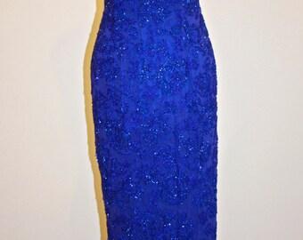 Stunning Oleg Cassini Cobalt Blue Beaded Gown