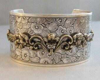 Lily Whisper,Bracelet,Cuff,Silver Bracelet,Lily,Lily Bracelet,lily Cuff Bracelet,Silver,Antique Bracelet,Floral Bracelet, valleygirldesigns.