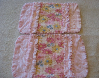 Baby Girl Burp Cloths Pink and Yellow Flowers Baby Girl Burp Cloths with Minky backing