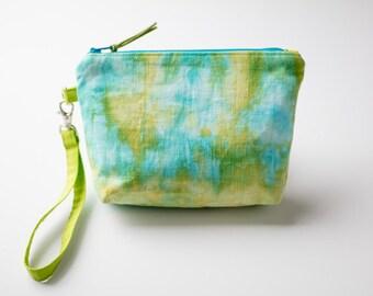 Hand Dyed Wristlet, Wristlet Clutch, Wristlet Purse, Summer Handbag, Summer Wristlet