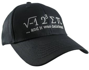 I Ate Some Pi And It Was Delicious Humorous Math Pun White Embroidery on a Black Adjustable Structured Baseball Cap for Kids Age 6 to 14
