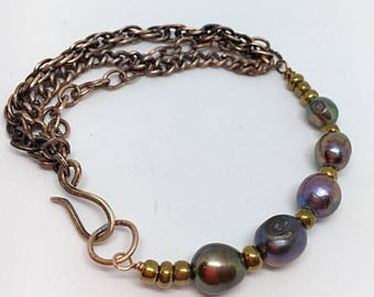 Iridescent gray freshwater pearls & oxidized copper/bronze bracelet