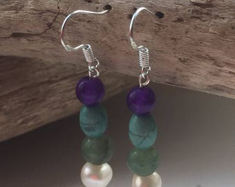 Handmade Sterling Silver, Fresh Water Pearls, Green Agate, Turquoise and Amethyst Drop Earrings