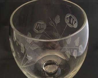 Vintage Etched Wine Glasses - Etched Roses - Floral Pattern - Crystal Stemware  - Set of 2