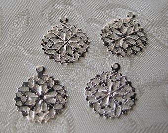 Bright Silver Plated Filigree Charm Medallion Pendant Setting 13mm 523