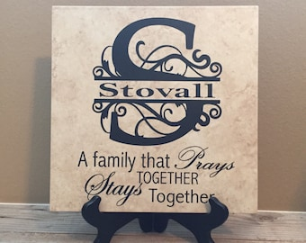 Decorative Tiles, Bridal Shower Gifts, Name Sign, Religious Gifts, Wedding Gift, Last Name Sign, Personalized Gifts, Monogramed Signs