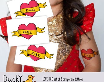 "Set of 3 temporary tattoos ""Love dad"". Classic tattoo design: heart with ribbon. Fathers day gift. Fun for daddy's girl and boys. TT270"