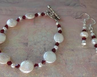 Freshwater Pearl & Ruby Red Crystal Bracelet