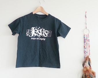 Black Cotton Jesus Vintage Tee~ Kitsch Clothing~ Jesus Keeps me Singing~ Religious Clothing~ Cute T-shirt for Women / Kids~ Boho Chic~ Small