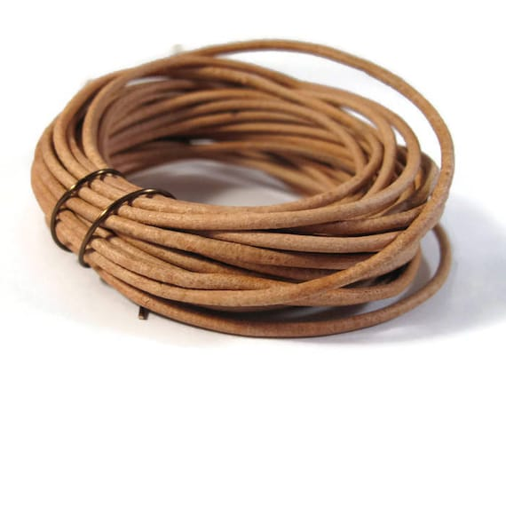 10 Feet of Natural Tan Leather Cord, 2mm Round Cord For Jewelry, Craft Supplies, Natural Light Brown Leather Cord