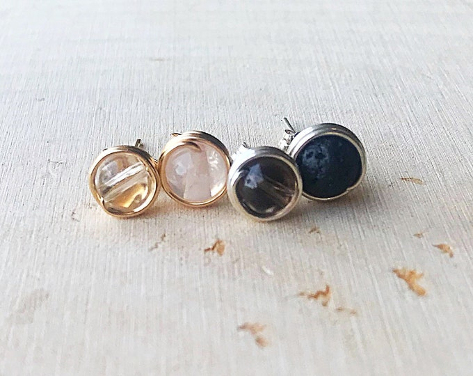 Reiki-Infused Crystal Bead Stud Earrings, Healing Stone, Clear Quartz, Smoky Quartz, Rose Quartz, Lava, Gemstone Jewelry, Bohemian, Handmade