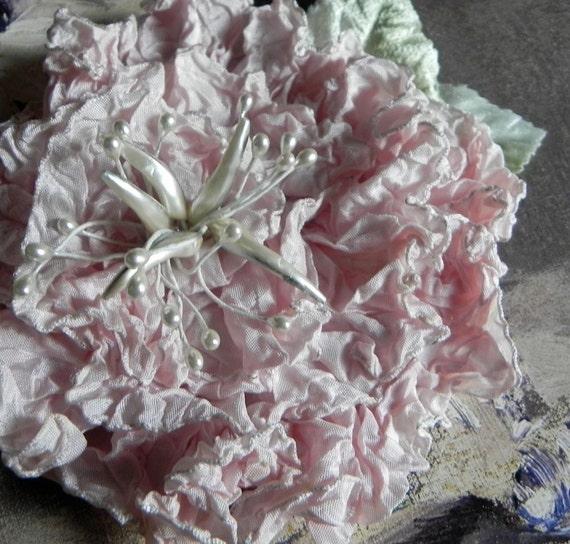 BLUSH PINK RIBBONWORK Bridal Flower, Vintage WhitePearlized Stamen, Bridal Headpiece, Wedding Sash