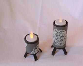 "Candlestick ""lace"" porcelain cold saeljana. Led or wax candle."
